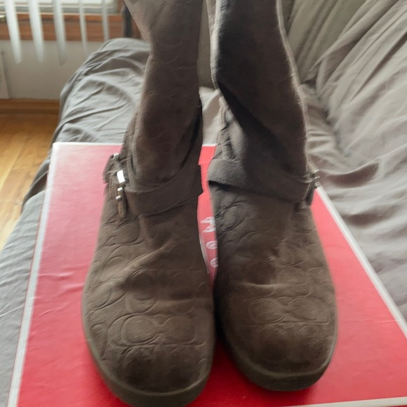 Coach Thelma Embossed Grey suede boots size 10